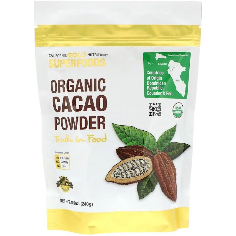California Gold Nutrition オーガニック カカオパウダー 240g / California Gold Nutrition Organic Cacao Powder 240g